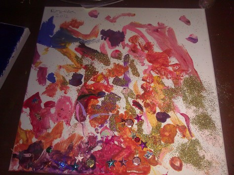 canvas painting by 3 year old