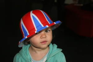 toddler in union jack hat