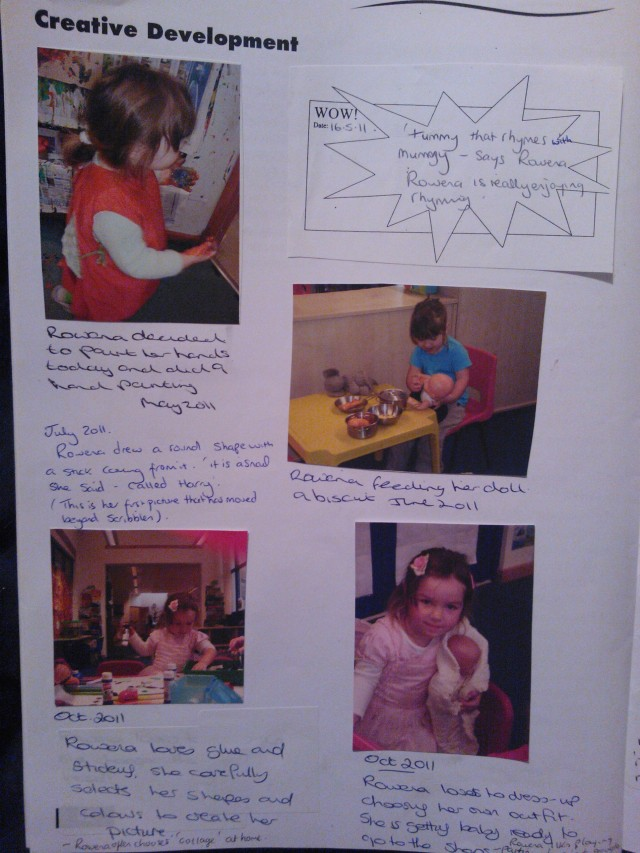 The pictures tell the story of the child's fascinations and the teacher annotates explaining the learning that took place. The Wow moment was added by a parent about learning that had occurred at home. Parents can also comment on the learning at pre-school to show how this matches with what they do at home.