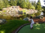 golf course with waterfall