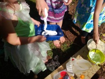 outdoor play with shaving foam