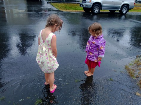 barefoot in puddles