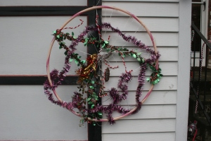 Christmas decoration using hula hoop