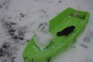 baby snowman on sledge