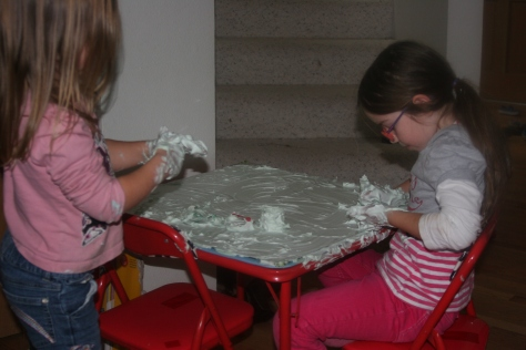shaving foam on a mirror table