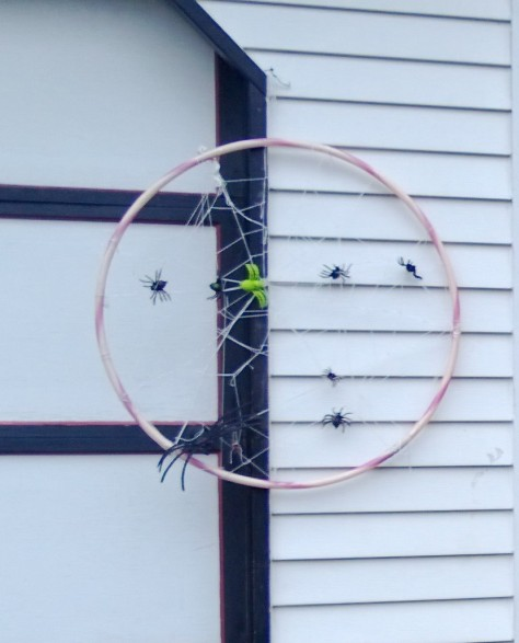 spider web on a hula hoop