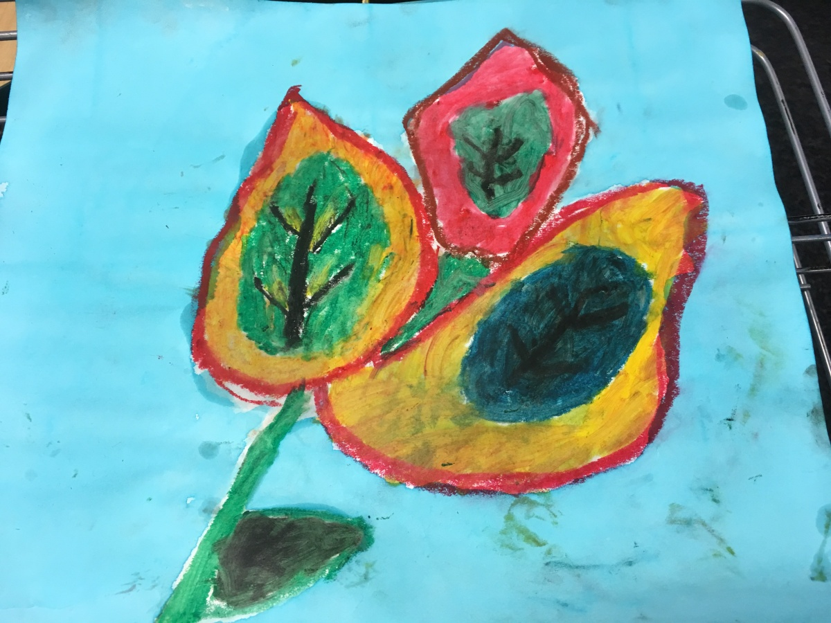 Art Project for Kids: Oil Pastel Still Life Inspired by Georgia O'Keefe
