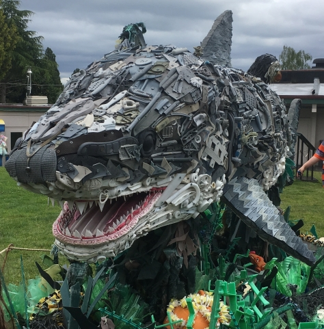 shark sculpture made from plastic washed ashore