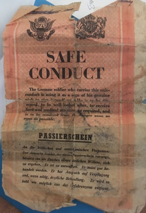 safe conduct paper German soldier ww2