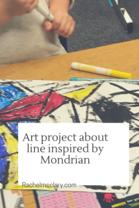 Art Project about line inspired by Piet Mondrian - elementary art