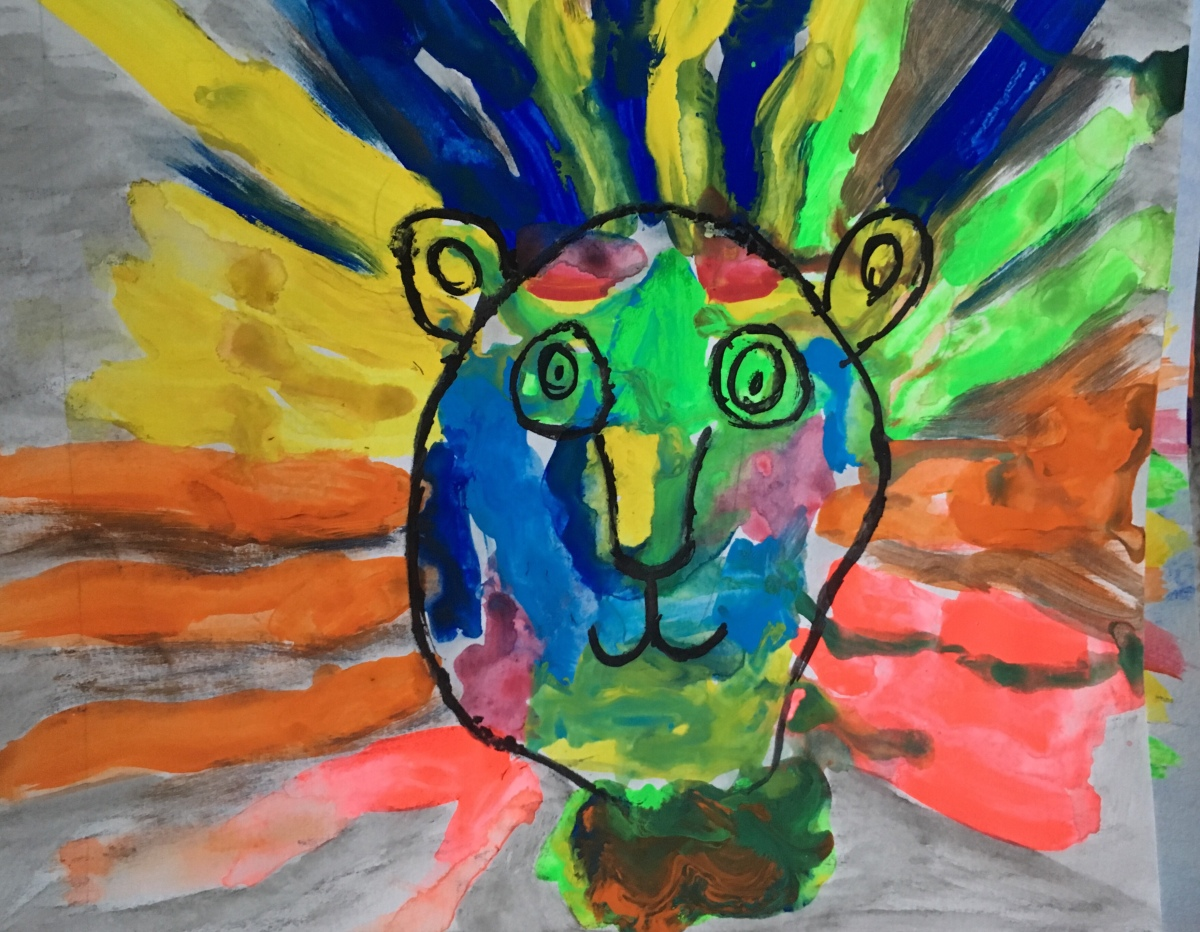 Square 1 Art Lesson: Lions Inspired by LeRoy Neiman(1st Grade)