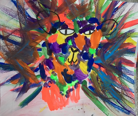 Square one art project inspired by Leroy neiman lions