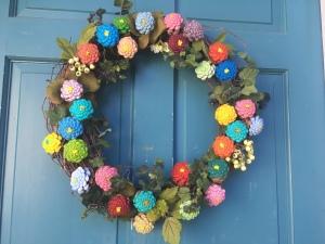 pine cone zinnia wreath