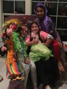 Clown (make me laugh), Unicorn (mythical beasts), colourful costume (world of colour) and Rapunzel (book characters)