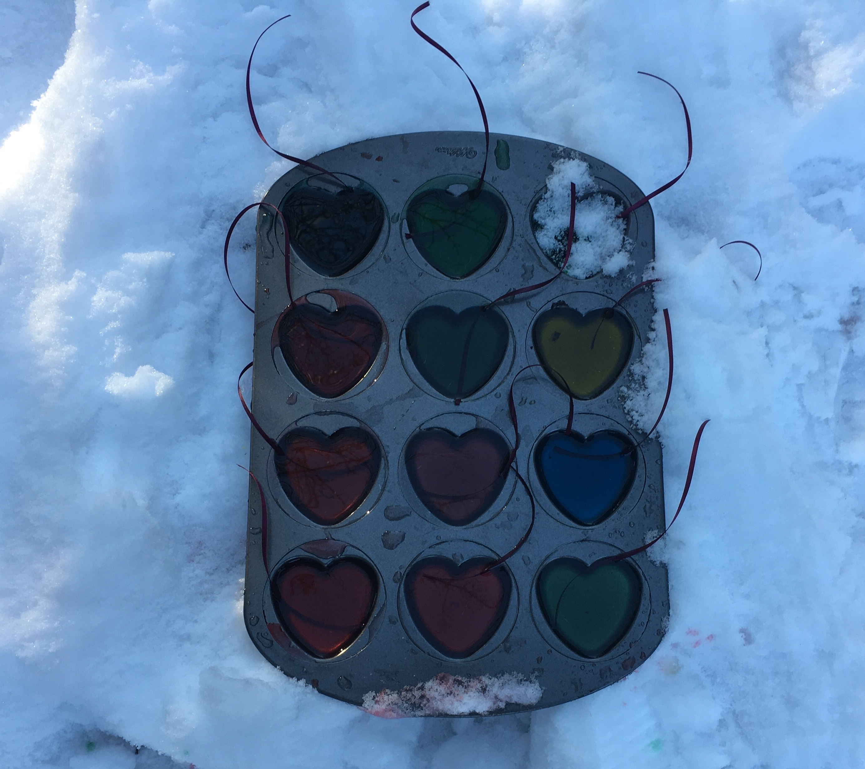 valentine ice ornaments